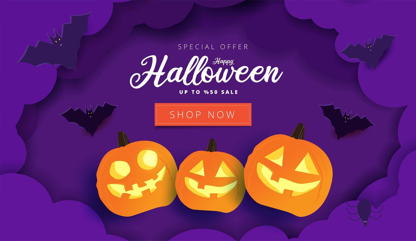bannière de vente halloween nuages ?? de papier en couches violet vecteur