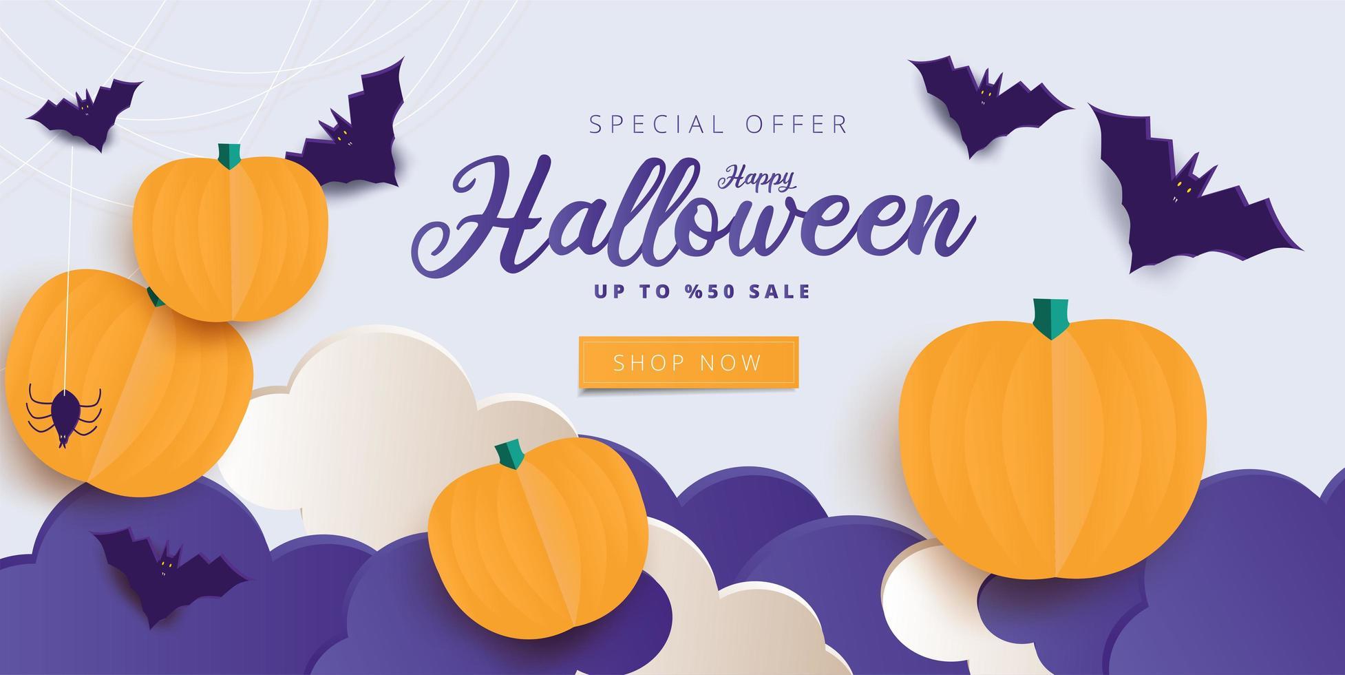 joyeux halloween calligraphie avec des araignées, des chauves-souris et des citrouilles vecteur