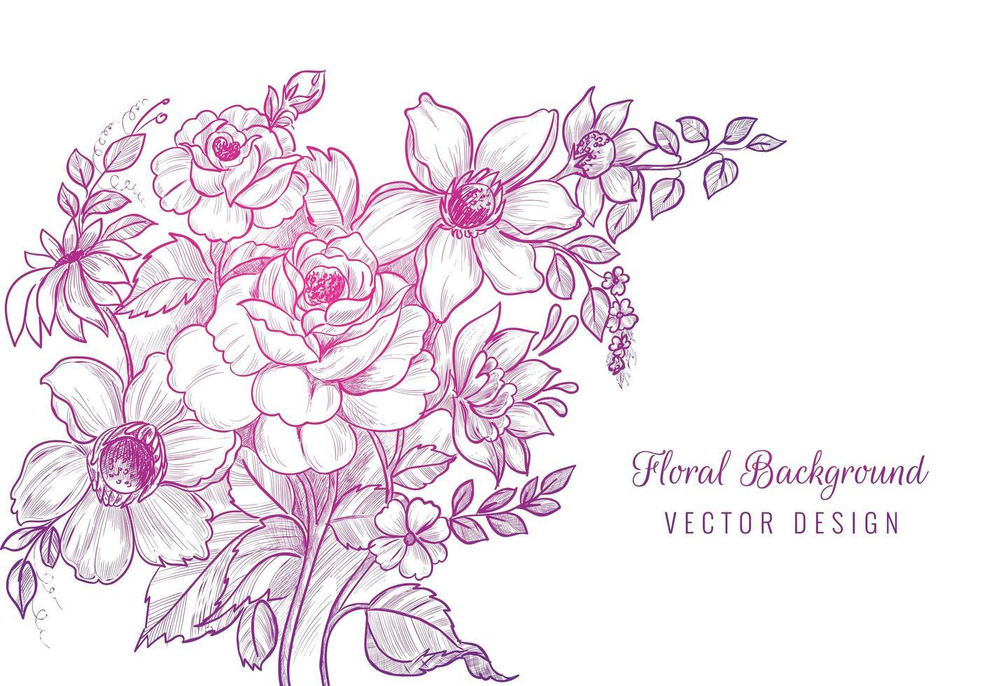bouquet floral dégradé violet rose dessiné à la main vecteur