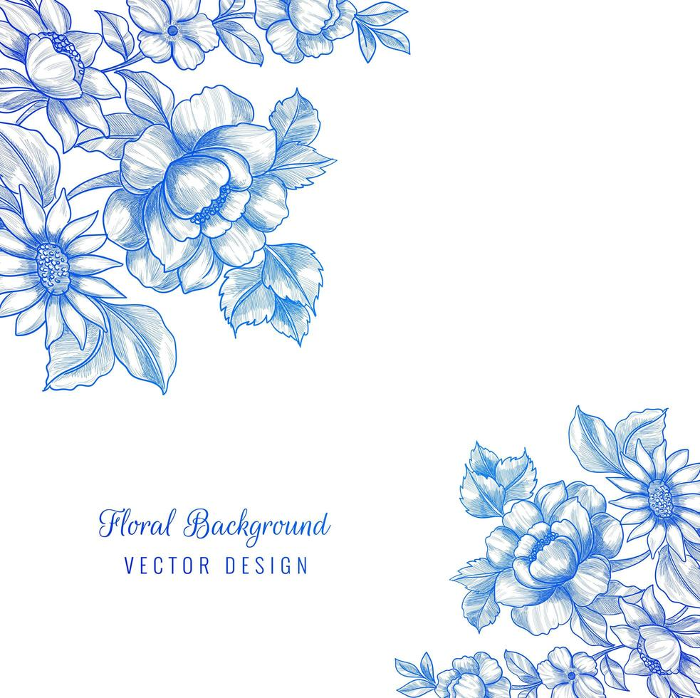 belle conception de coin floral bleu décoratif vecteur