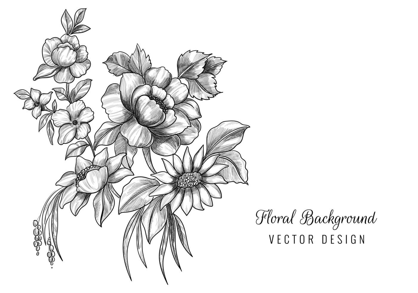 belle esquisse artistique florale vecteur
