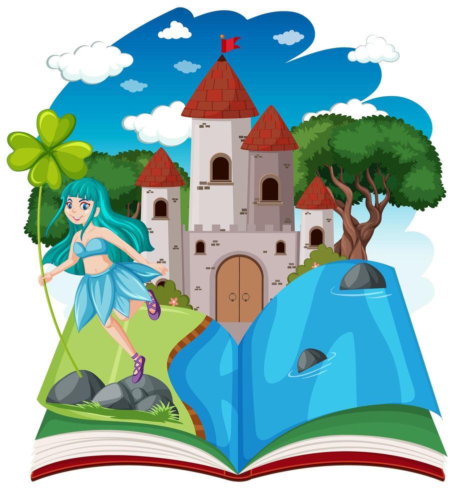 contes de fées et tour du château sur livre pop-up vecteur
