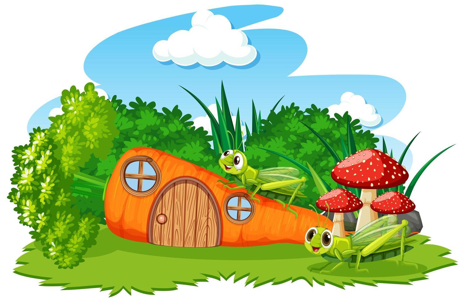 dessin animé, carotte, maison, à, deux, sauterelles vecteur
