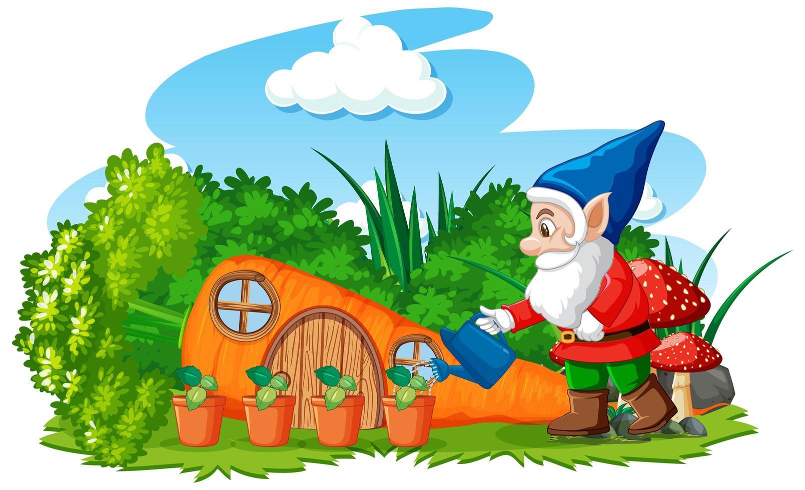 gnomes arrosage avec maison carotte vecteur