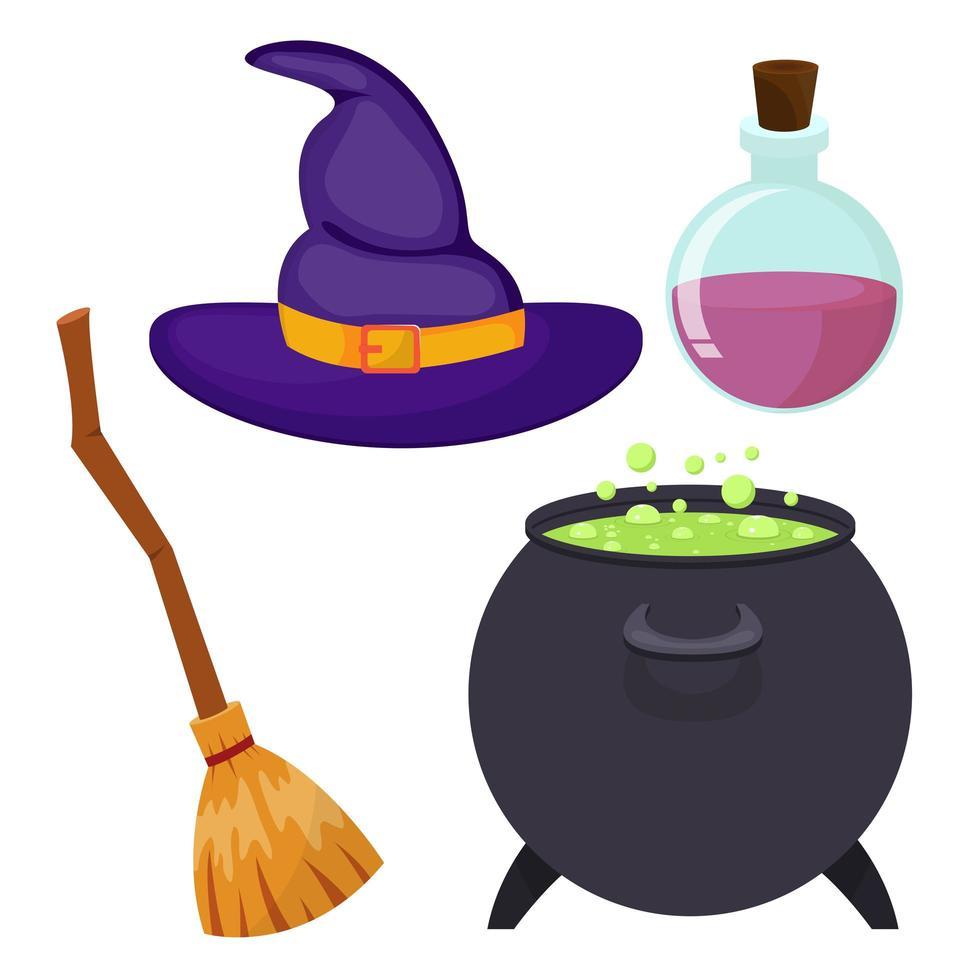 pack d'éléments de sorcière vecteur