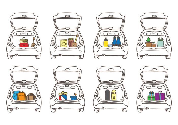 Illustrations de bottes de voiture vecteur
