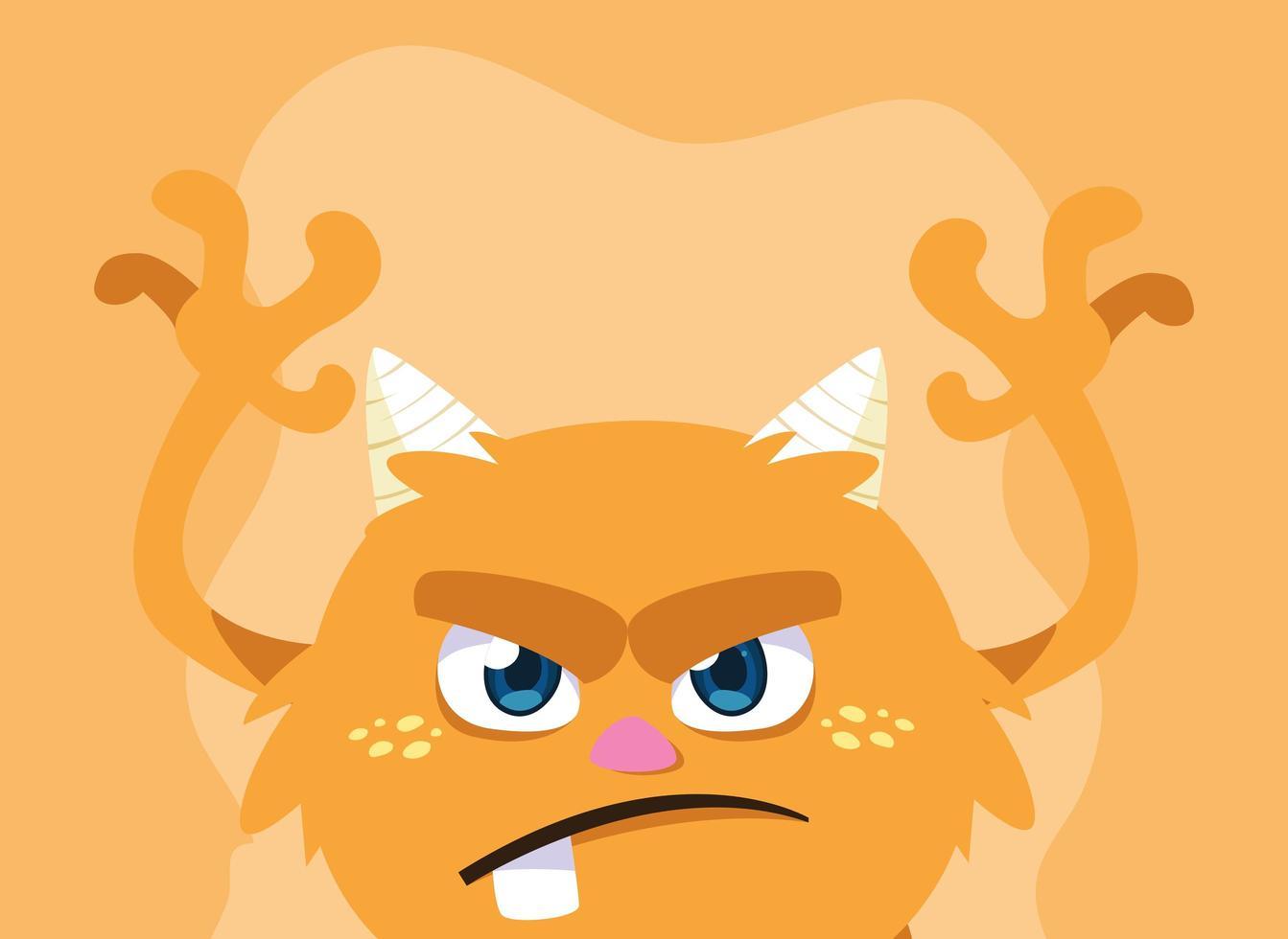 icône du design dessin animé monstre orange vecteur