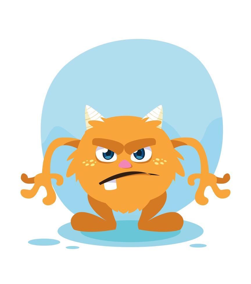 monstre orange dessin animé design icône vector illustration