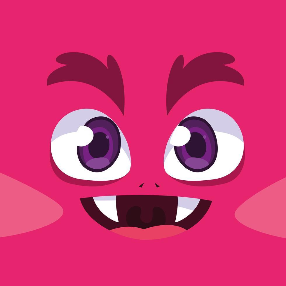 icône du design dessin animé monstre rose vecteur