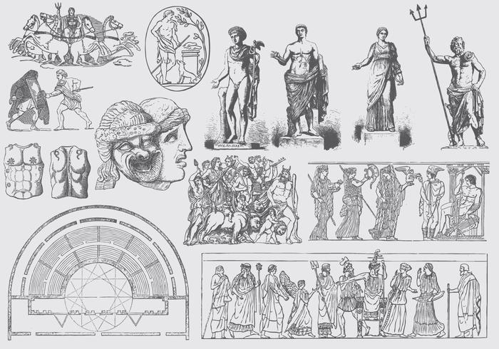 Grec Illustrations artistiques grecques vecteur