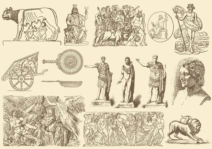Illustrations de l'art grec sépia vecteur