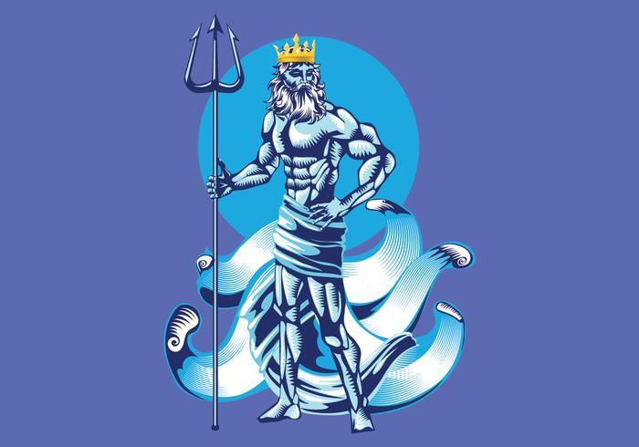 Pose de l'illustration vectorielle de Poseidon vecteur