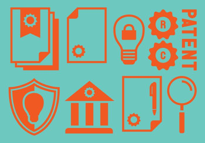 Icônes de propriété d'idée de brevet vecteur