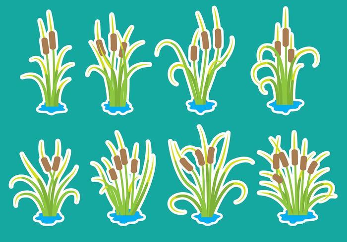 Icônes de cattail de dessin animé vecteur