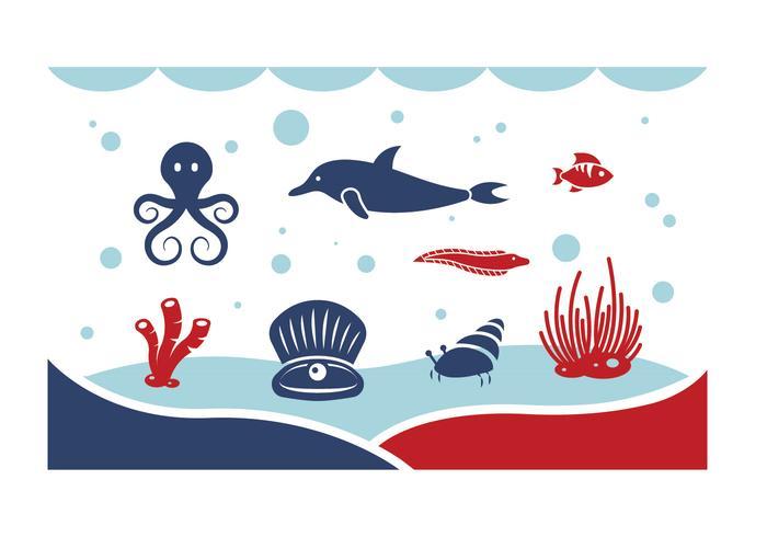Sous les vecteurs de la mer vecteur