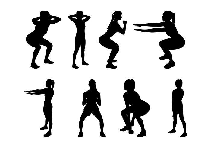 Vecteur de silhouettes de conditionnement physique gratuit