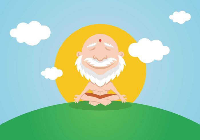 Méditation calme du guru du yoga vecteur