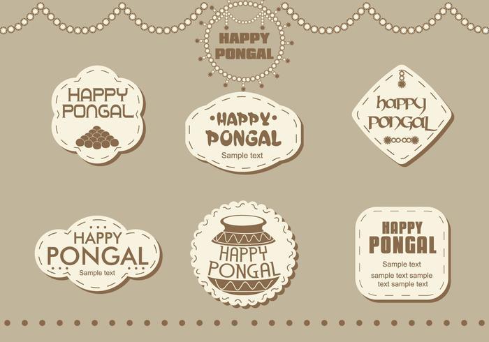 Autocollants Happy Pongal vecteur