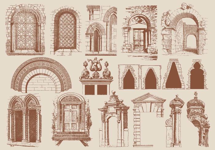 Éléments d'architecture marron vecteur