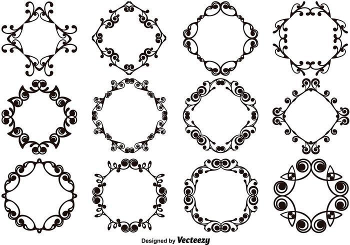 Ensemble de modèles et de monogrammes décoratifs vecteur