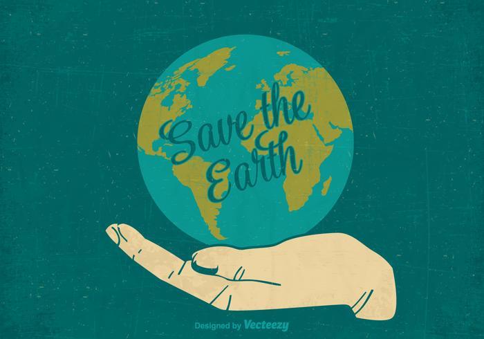 Rétro gratuit sauvegarder l'affiche du vecteur de la terre