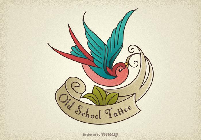 Vecteur gratuit d'hirondelle de tatouage d'une vieille école