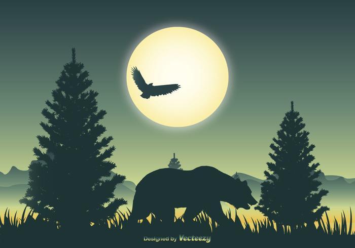 Scène de paysage avec silhouette d'ours vecteur