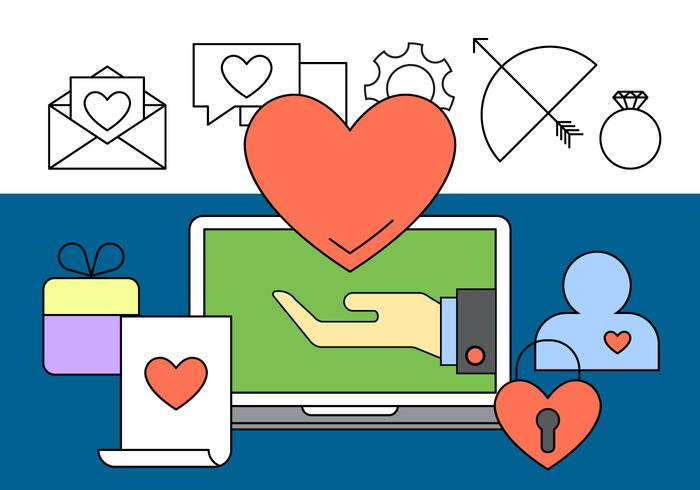 Icônes gratuites de rencontres en ligne vecteur