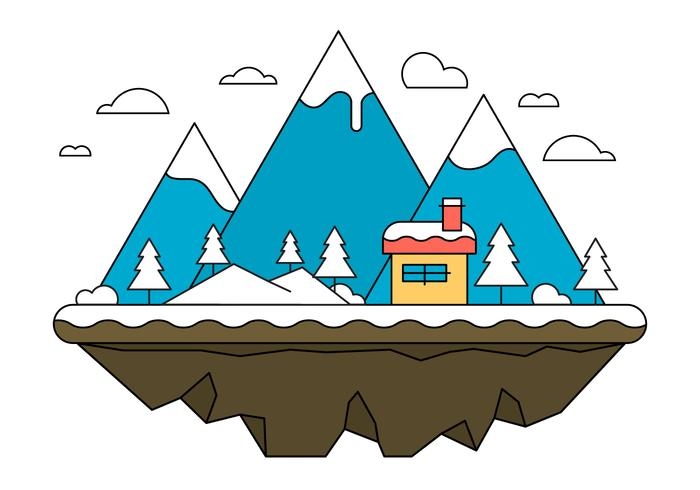 Blue Landscape Island Illustration Vectorisée vecteur
