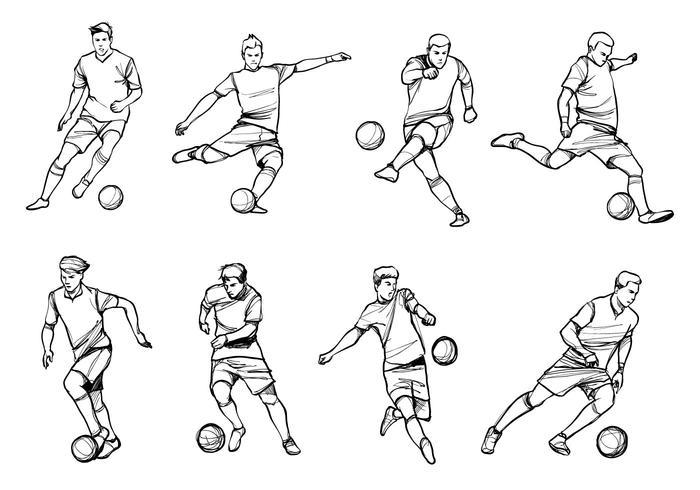 Vecteurs de joueurs de football vecteur