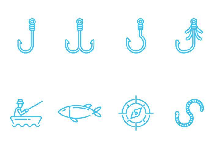 Vecteurs d'icônes de pêche vecteur