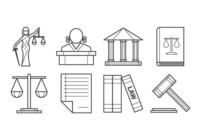 Vector d'icônes de droit et de justice libre