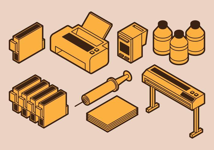 Impression d'icônes vecteur