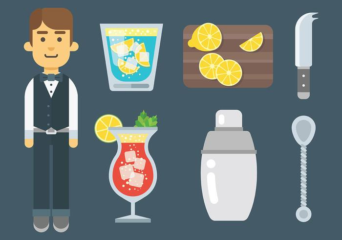 Barman Icons Vector gratuit