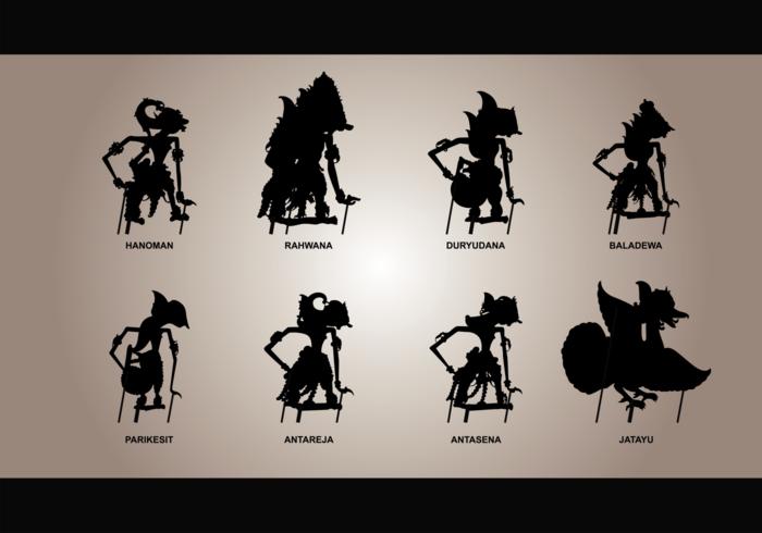 Vecteur silhouettes wayang