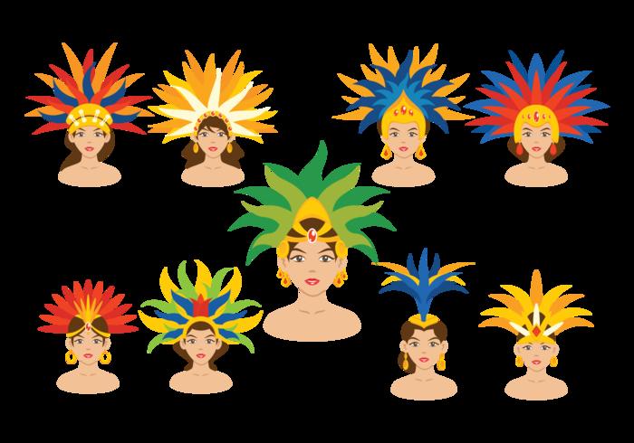Vecteurs brésiliens de danseurs de samba vecteur