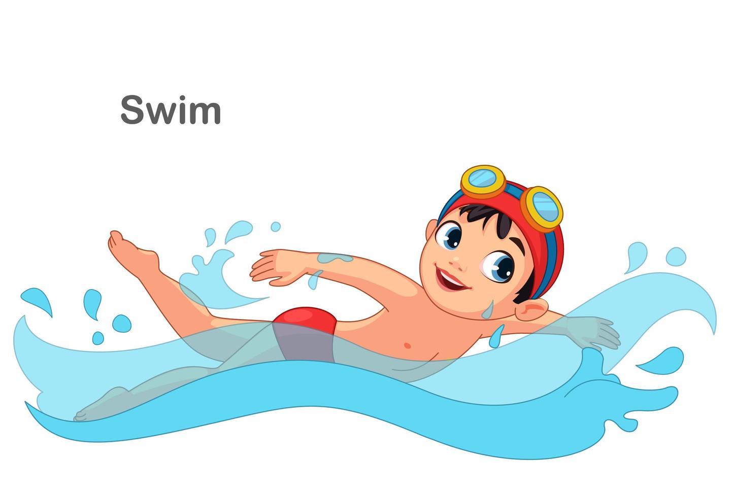 petit garçon nageant vecteur