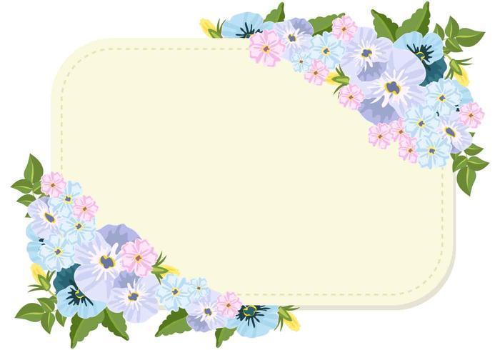Fleurs de pansy et modèle vierge vecteur