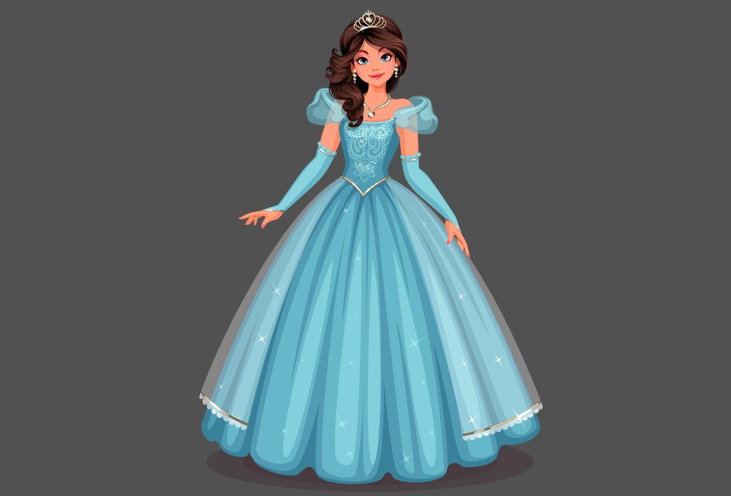 belle princesse en robe bleue vecteur