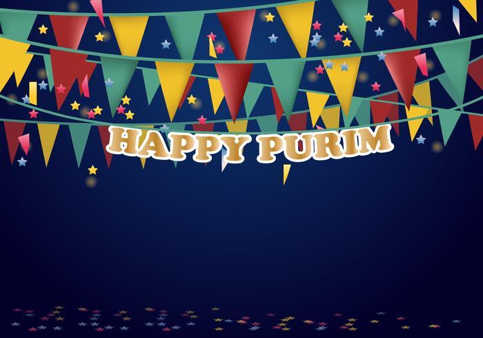 Affiche de fête de Purim Bandeau de fête musicale vecteur