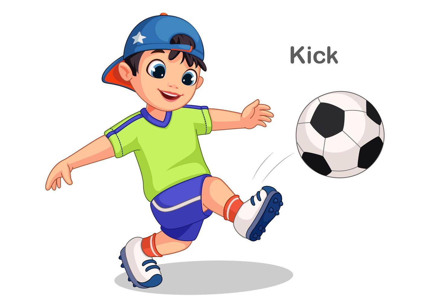 mignon garçon coups de pied ballon de football vecteur
