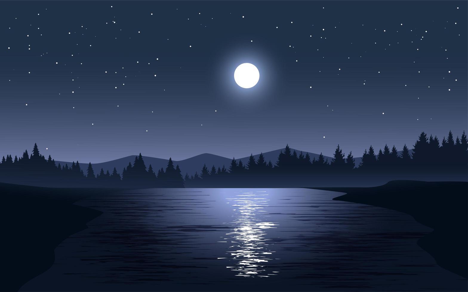 clair de lune reflétant sur le paysage du lac vecteur