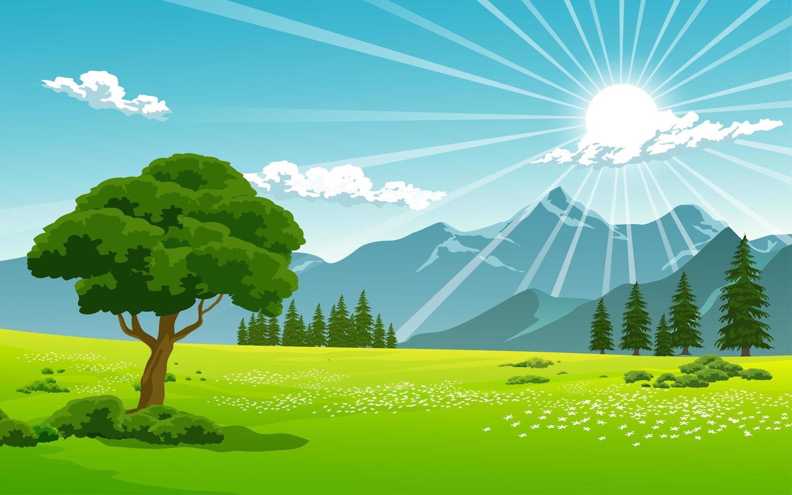 lever du soleil sur le paysage de la chaîne de montagnes vecteur