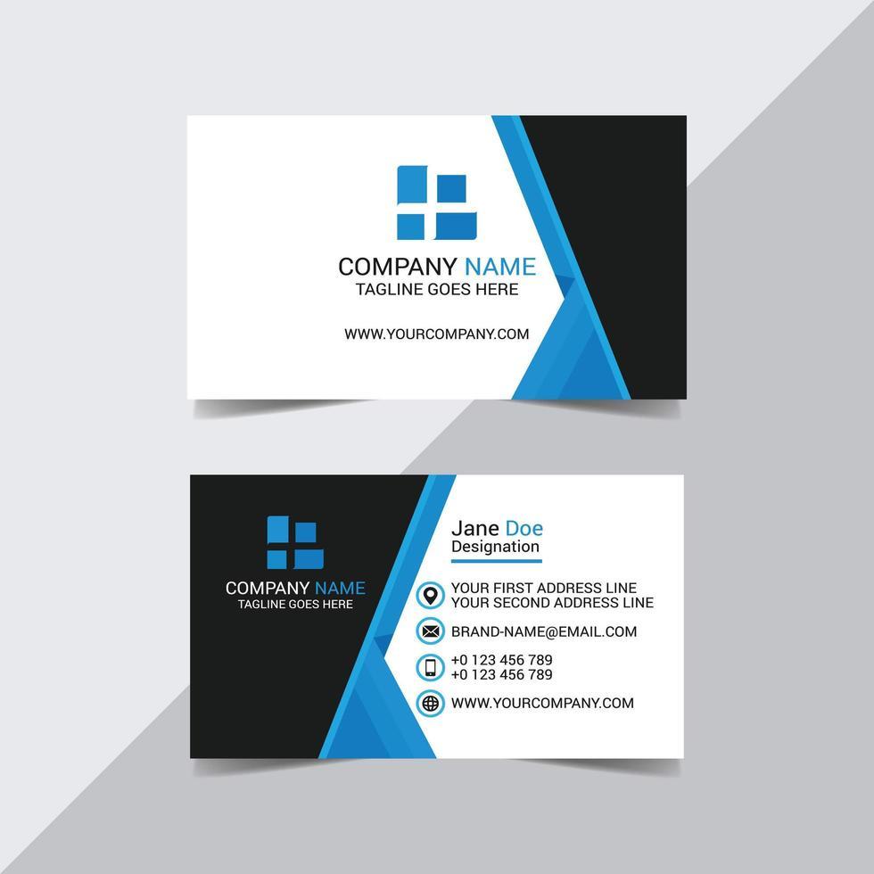 carte de visite entreprise angle bleu et noir vecteur