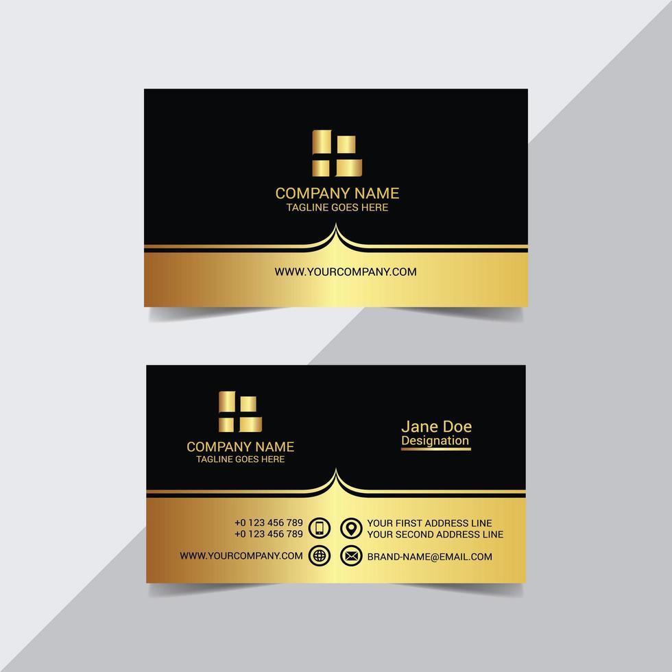 modèle de carte de visite royal noir et or vecteur