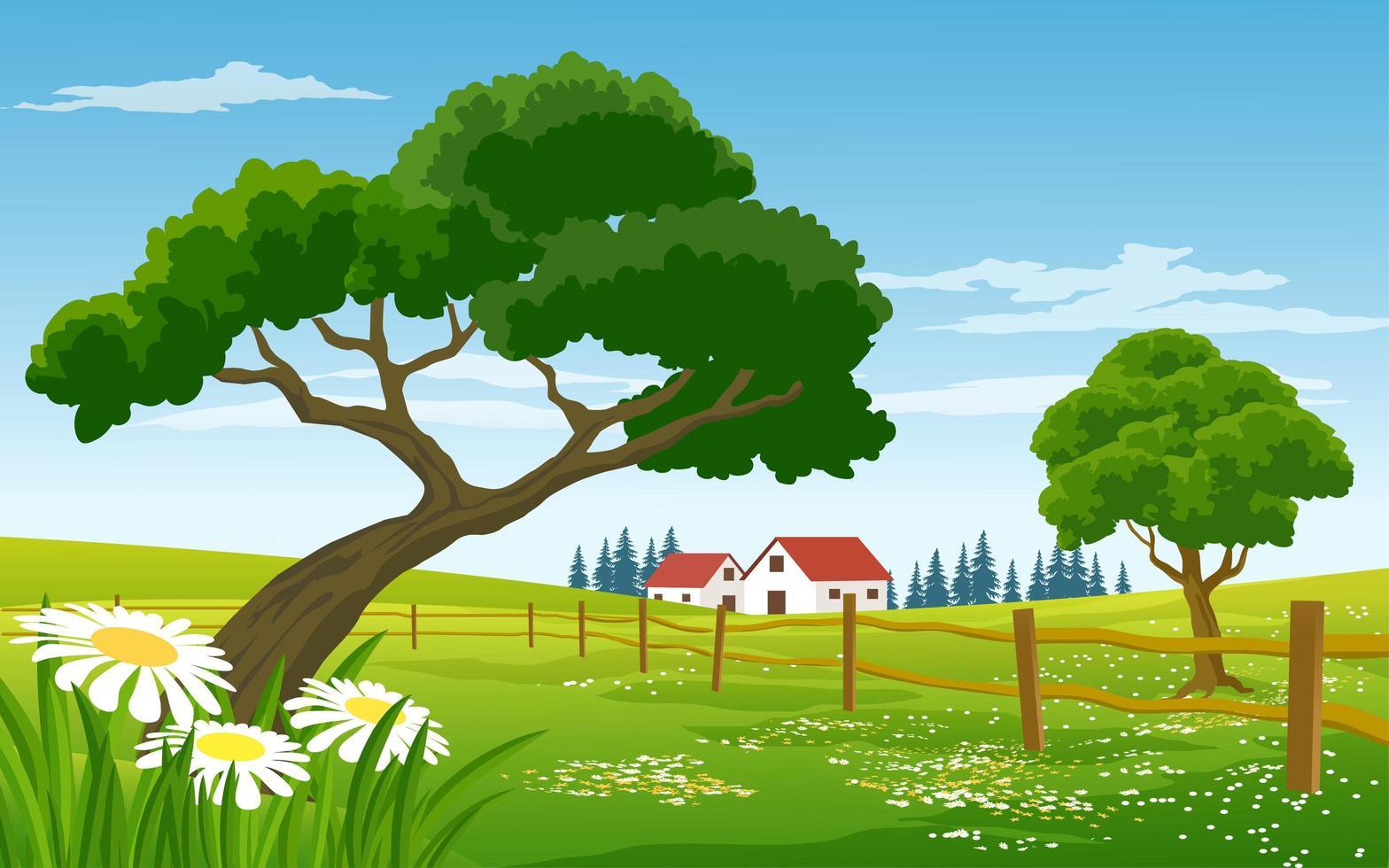 paysage de campagne pittoresque avec ferme et clôture vecteur
