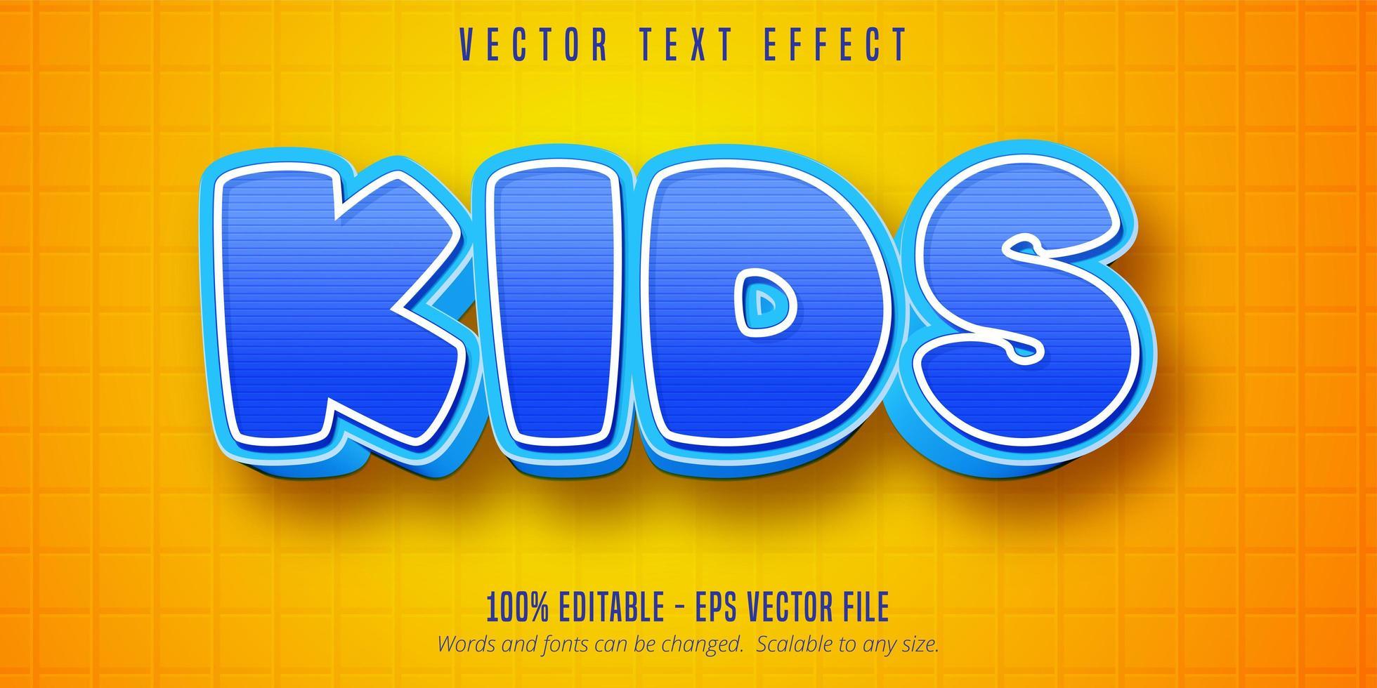 effet de texte modifiable de style cartoon enfants rayé bleu vecteur
