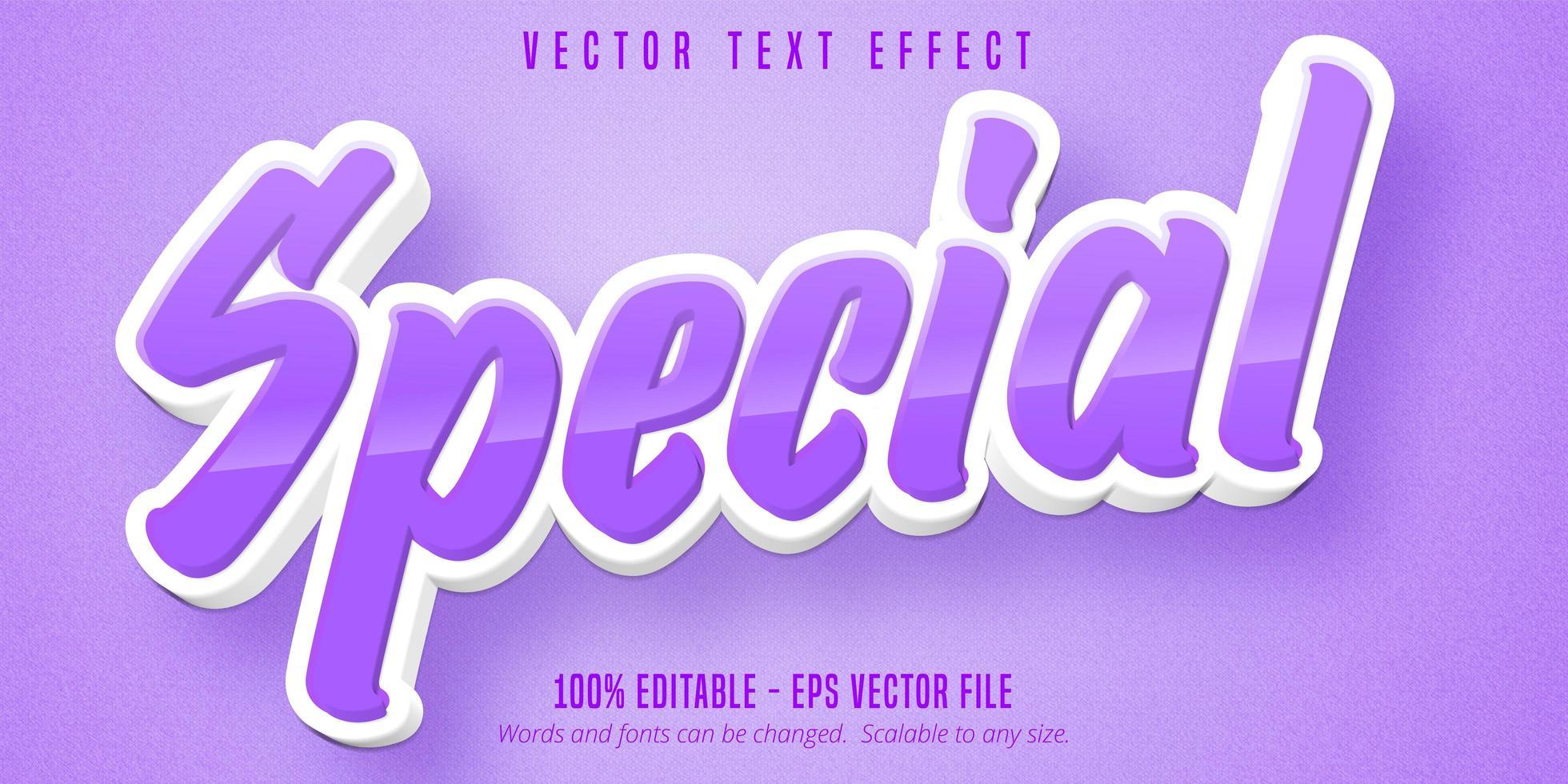 effet de texte modifiable de dessin animé spécial violet et blanc vecteur