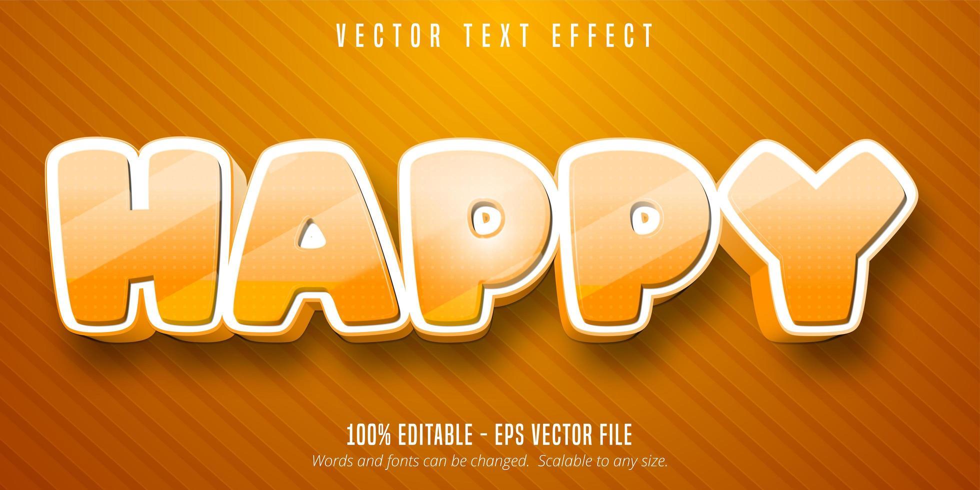 effet de texte modifiable de style dessin animé heureux orange en pointillé vecteur