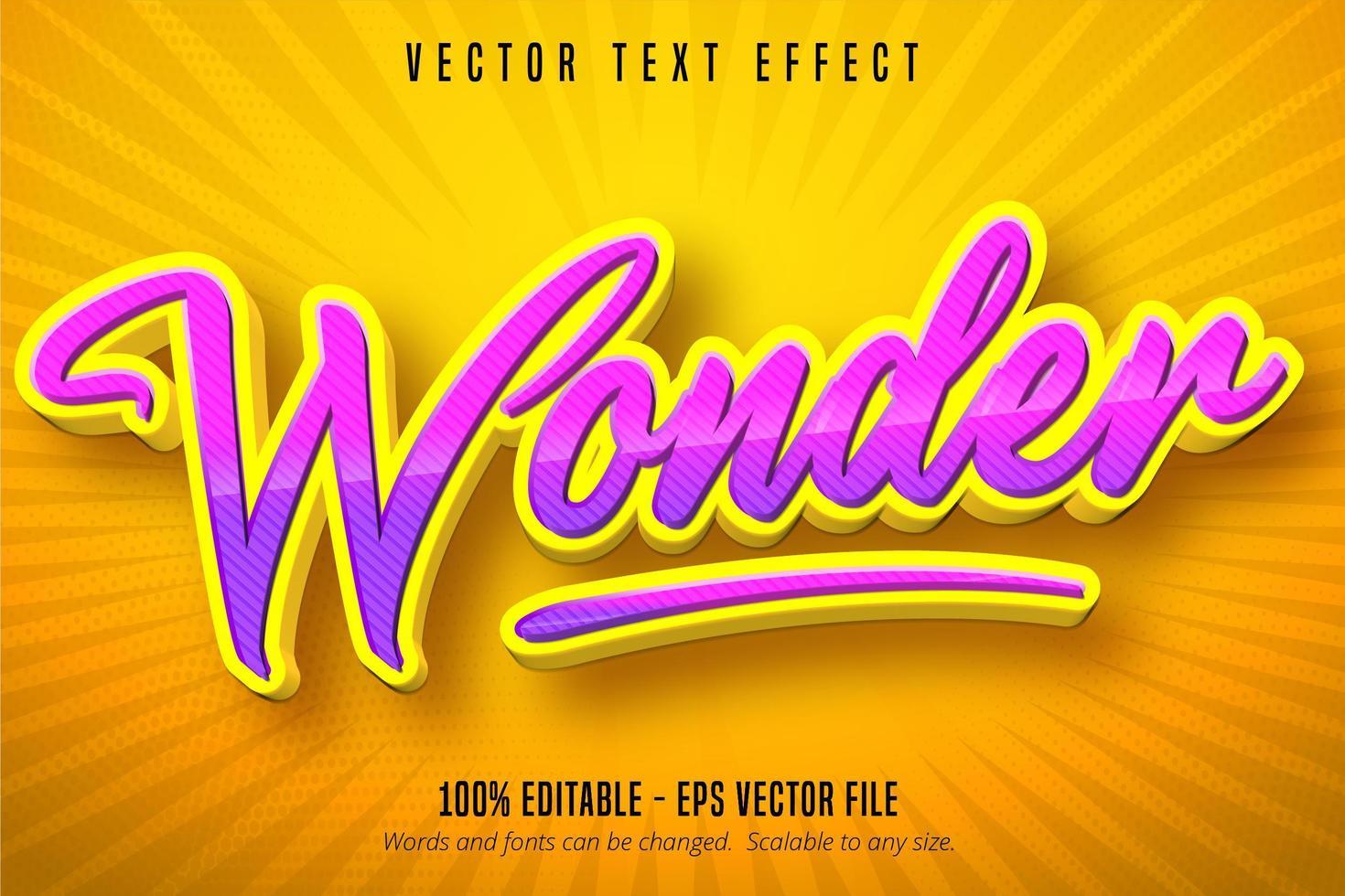 effet de texte modifiable de style dessin animé violet rayé vecteur